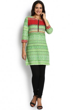 Buy Soch Light Green Cotton Printed Kurti Online
