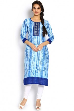 Buy Soch Royal Blue & Off-White Cotton Jute Straight Kurti Online