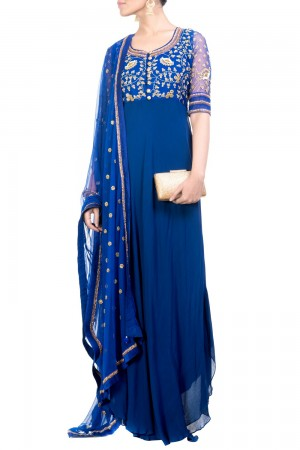 Buy Circular Cut Midnight Blue Suit Set Online