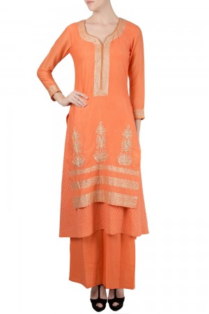 Buy Gota Embroidered Anarkali With Palazzo And Dupatta Online