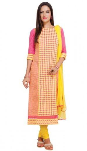 Buy Pink & Yellow Cambric Unstitched Kurti Online