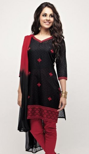 Buy Black Dot Jacquard Cotton with Maroon Geometric Embroidery Unstitched Kurta Set Online