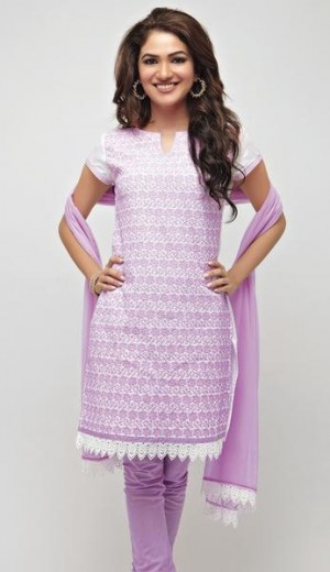 Buy White Cotton with Lavender Embroidery Unstitched Kurta Set Online