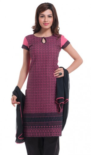 Buy Pink Cambric And Black Embroidered Sequins Unstitched Kurta Set Online