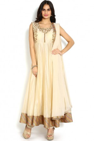 Buy Soch Off-White & Gold Chanderi Anarkali Chudidhar Set  Online
