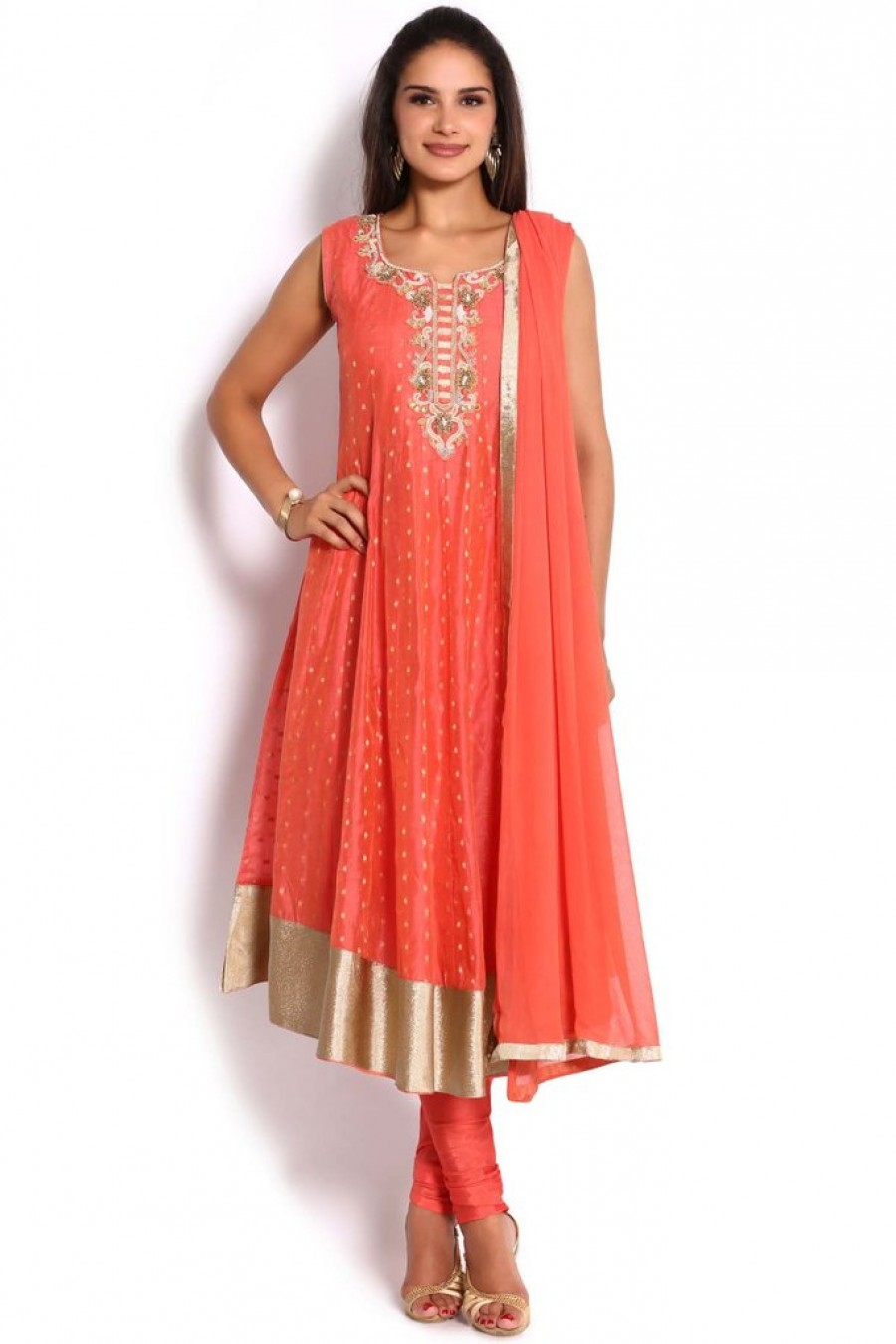 933c0cae62 Soch Peach & Gold Chanderi Anarkali Suit |Online Shopping | 530707