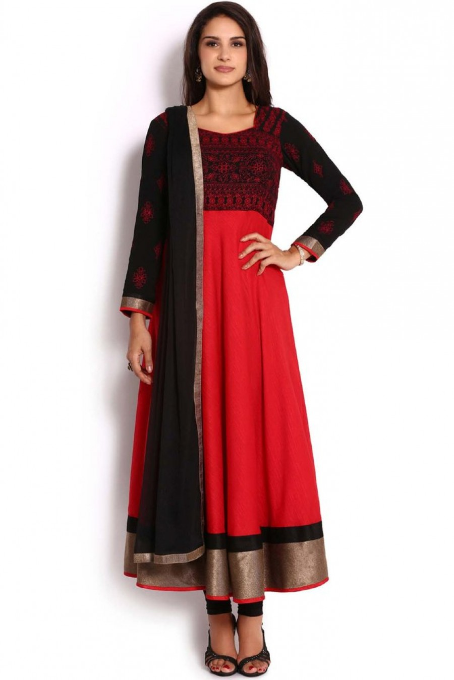 9abb9012ea Exclusive Soch Black   Red Raw Silk Anarkali Suit