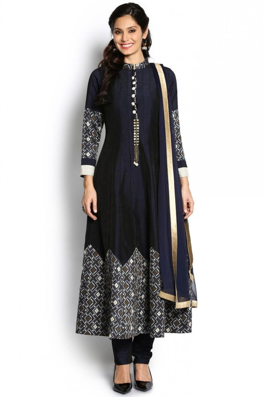 Online Shopping Soch Navy Blue And Off White Anarkali Suit