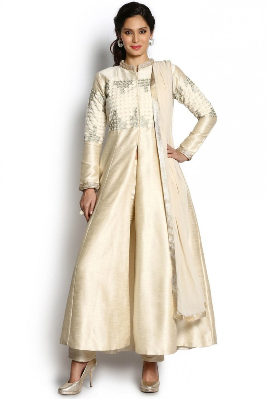 073205a77b Soch Off White And Silver Chanderi Anarkali Suit|Online Shopping ...