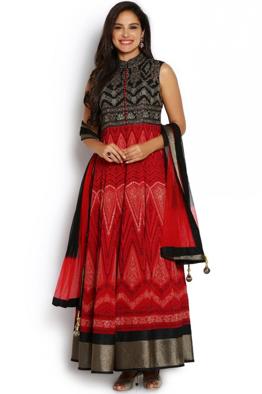 f4e97bb122 Buy Exclusive Soch Red And Black Georgette Anarkali Suit at best ...