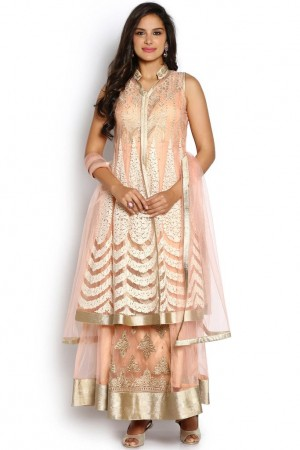 Buy Soch Light Pink And White Jacket Style Anarkali Suit Online