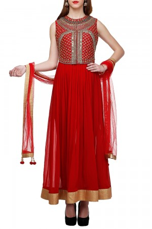 Buy Maroon Anarkali With Embroidered Jacket   Online