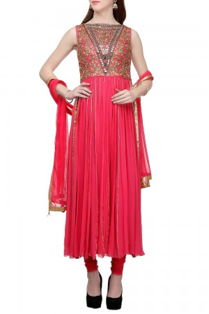 Buy Coral Anarkali With Zari Embroidery   Online