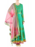 Sea Green & Fuschia Gota Patti And Printed Anarkali Suit Set