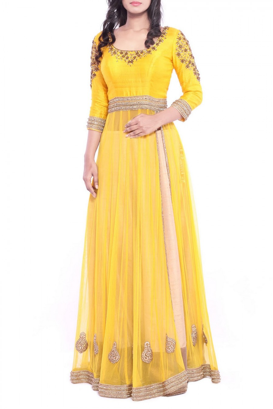 Buy Yellow Stone Embroidered Anarkali With Lehenga   Online