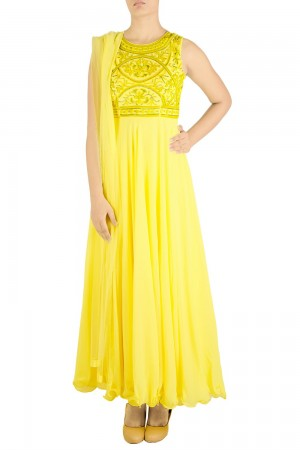 Buy Yellow Thread/Bead Embroidered Anarkali Suit Set   Online