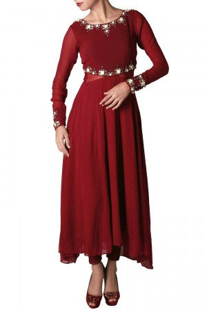 Buy Marsala Georgette And Net Anarkali With Rose   Online