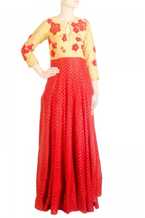Buy Gold And Red Chanderi Anarkali   Online