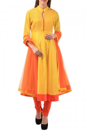Buy Yellow Chanderi Tagai Anarkali Set   Online