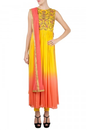 Buy Yellow Georgette Embroidered Kurta With Churidaar & Dupatta   Online