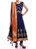 Navy Blue Gota Patti Anarkali Suit Set
