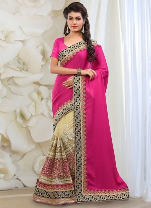 Buy Pink And Gold Georgette Net Half And Half Saree Online
