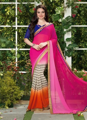 Buy Pink Georgette Half And Half Saree Online