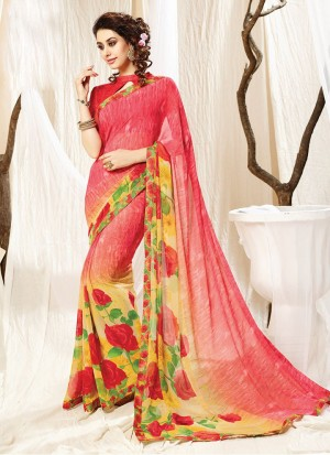 Buy Fushia And Yellow Georgette Saree Online