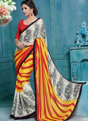 Buy White Yellow And Red Chiffon Saree Online