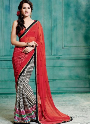 Buy Red And White Georgette Half And Half Saree Online