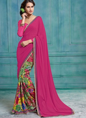 Buy Pink And Multi Coloured Georgette Half And Half Saree Online