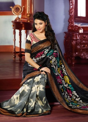 Buy Black And Grey Silk Saree Online
