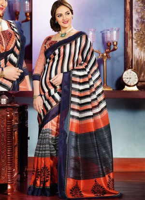 Buy Brown And Grey Ivory Silk Half And Half Saree Online