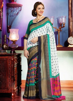 Buy Ivory And Sea Green Multicoloured Half And Half Saree Online