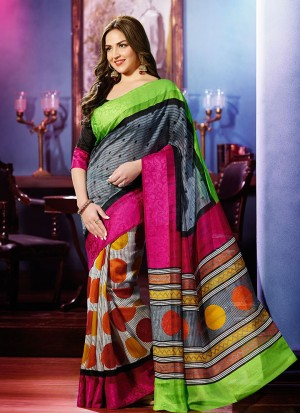 Buy Grey And Ivory Multicoloured Half And Half Saree Online