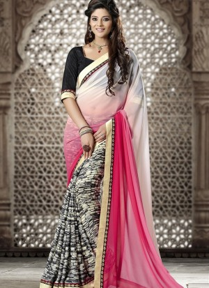 Buy Pink Black And White Georgette Half And Half Saree Online