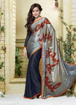 Buy Grey Ombre Silk Jacquard Half And Half Saree Online