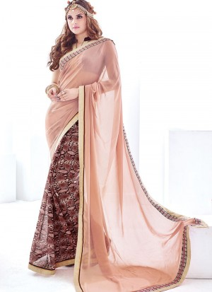 Buy Skin And Coffee Silk Georgette Half And Half Saree Online