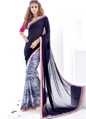Buy Rani And Navy Blue Georgette Crepe Half And Half Saree Online