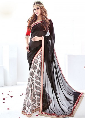 Buy Black And White Georgette Chiffon Half And Half Saree Online