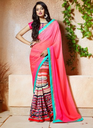 Buy Fuscia Half And Half Art Silk Saree Online
