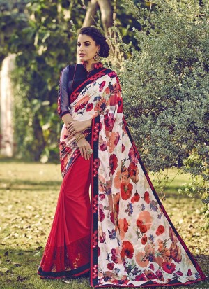 Buy Red And White Half N Half Printed Algeria Saree Online