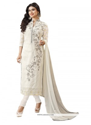 Buy Awesome Embroidered Work Off White Churidar Designer Suit Online