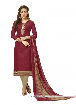 Buy Capricious Embroidered Work Cotton Maroon Churidar Designer Suit Online