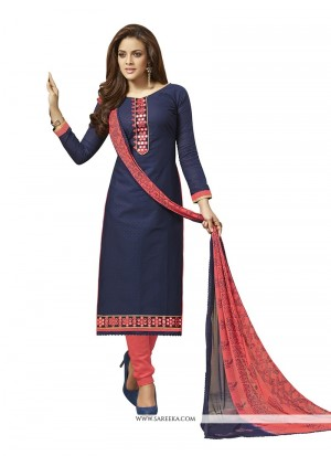 Buy Chic Embroidered Work Navy Blue Cotton Churidar Designer Suit Online