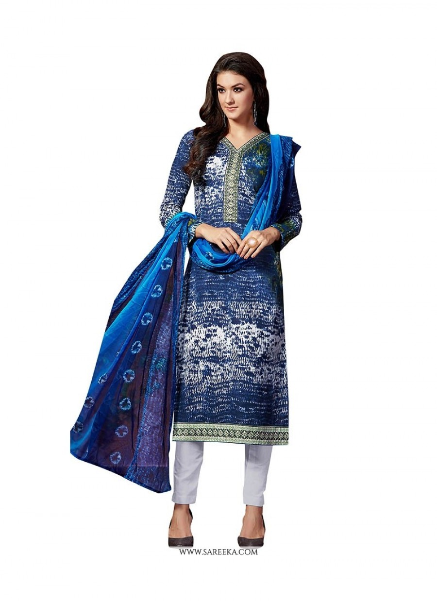 Buy Embroidered Fancy Fabric Pant Style Suit In Blue Online