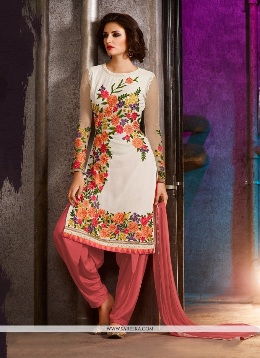 743e3a6ae9 Shopping For | Embroidered Georgette Punjabi Suit In Off White ...