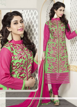Buy Engrossing Green And Pink Cotton Churidar Designer Suit Online