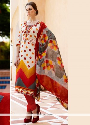 Buy Flamboyant Embroidered Work Faux Crepe Multi Colour Churidar Designer Suit Online
