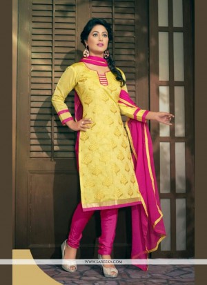 Buy Gilded Resham Work Yellow Churidar Designer Suit Online
